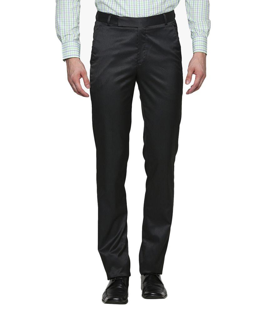 Garmate Black Regular Fit Formal Trouser