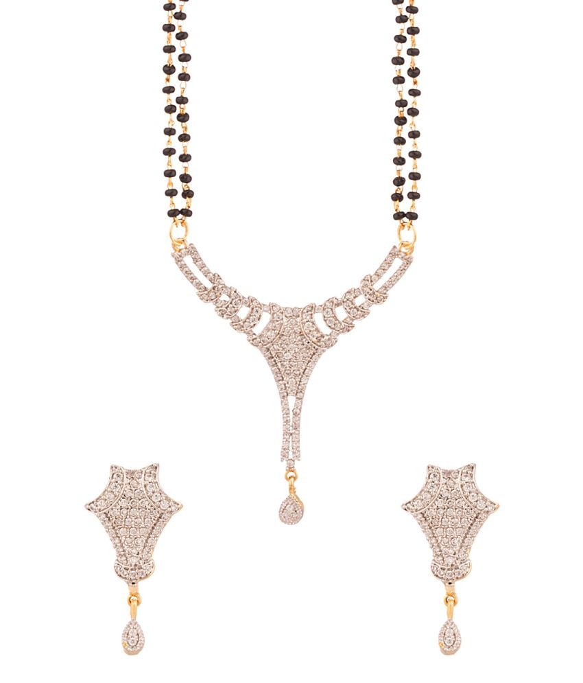 Voylla Golden American Diamond Contemporary Mangalsutra Set