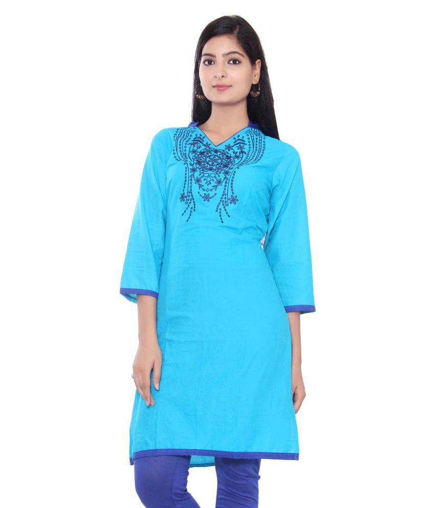 Aawari Blue Cotton Kurti