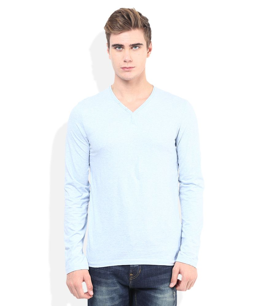 Celio Blue Henley Neck T Shirt