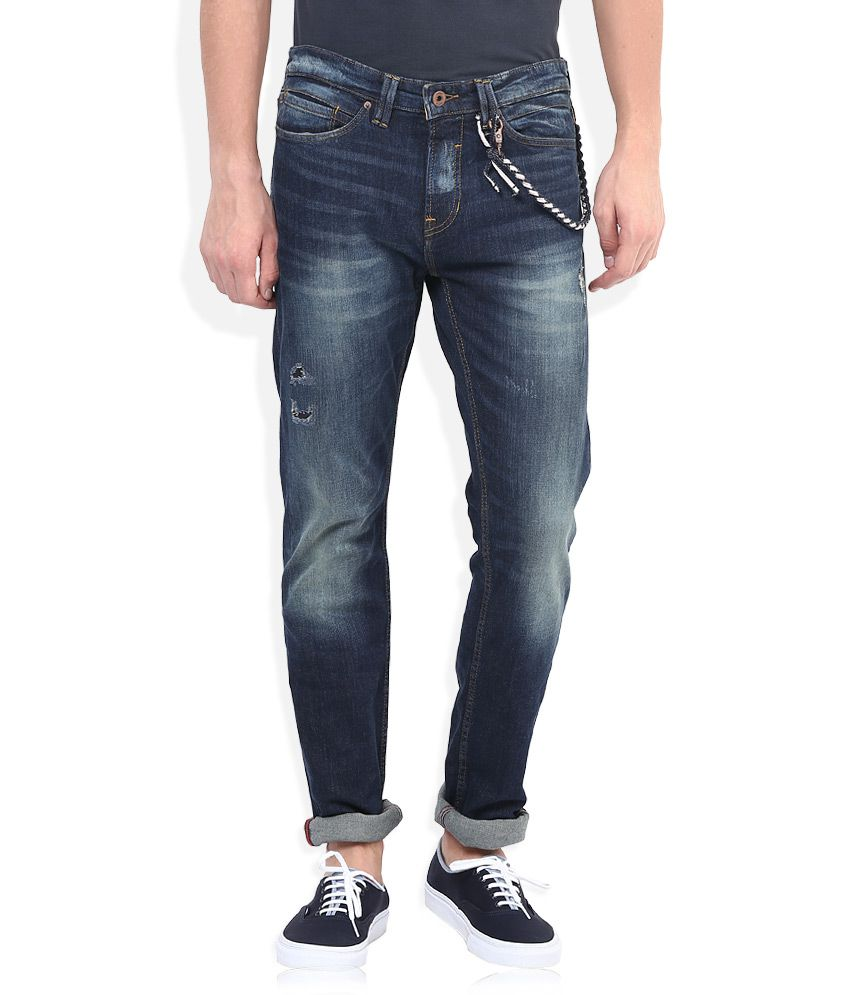 Celio Navy Stone Wash Regular Fit Jeans