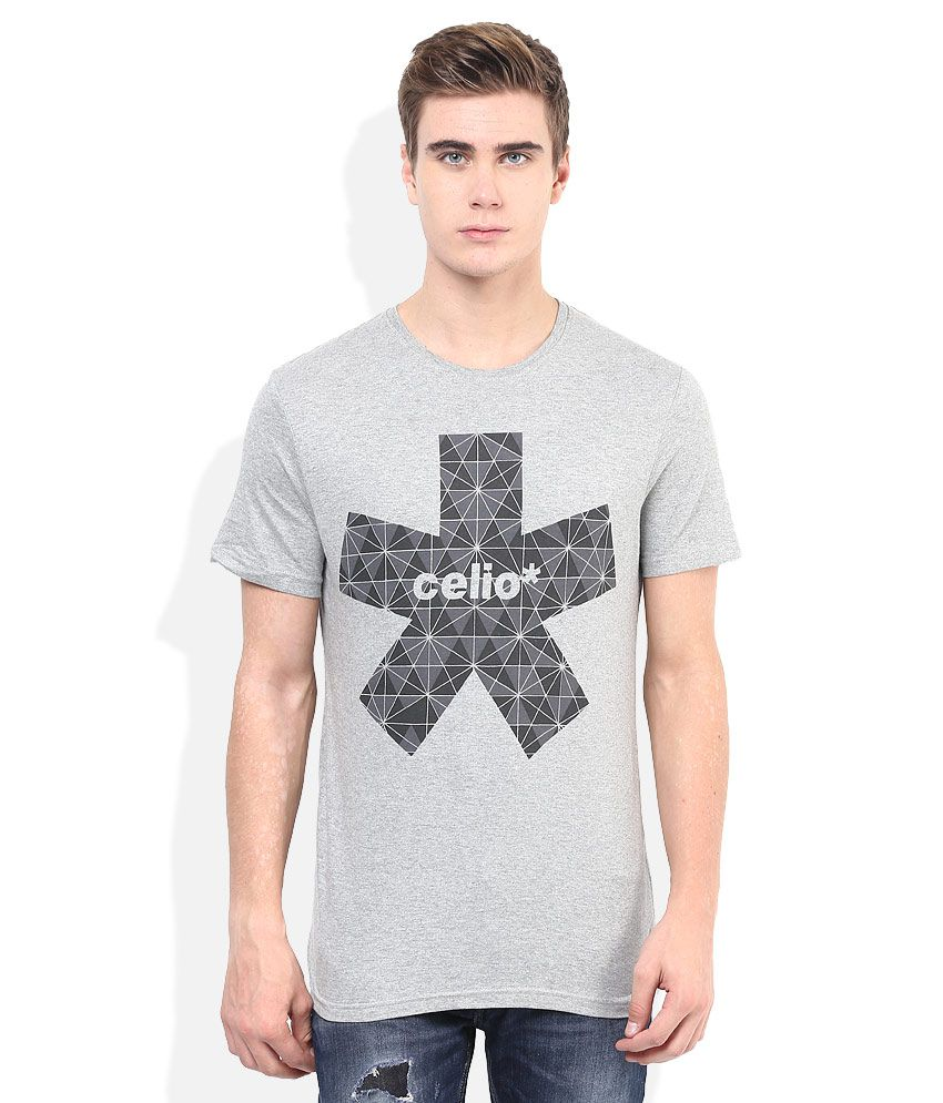 Celio Grey Printed Round Neck T Shirt