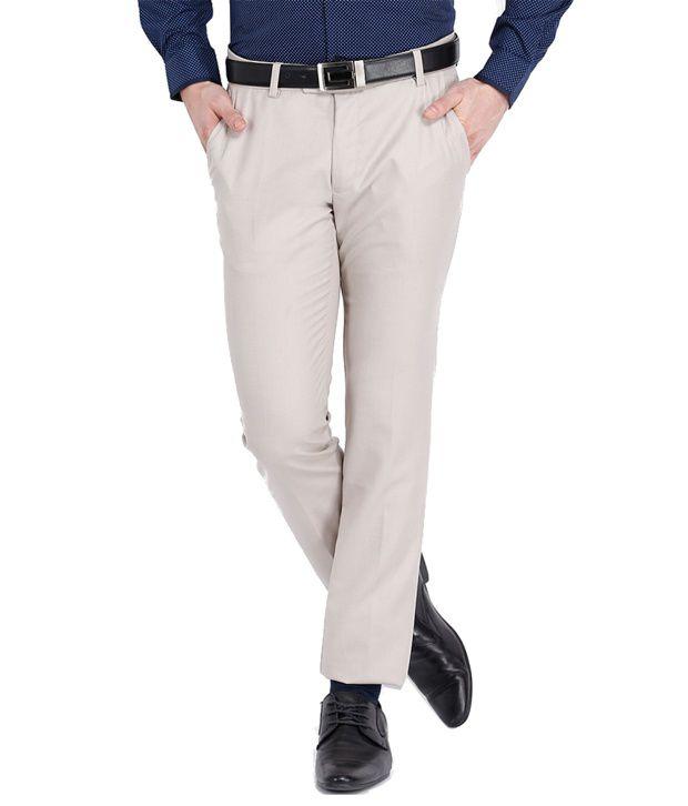In4 U Beige Regular Fit Formal Trouser