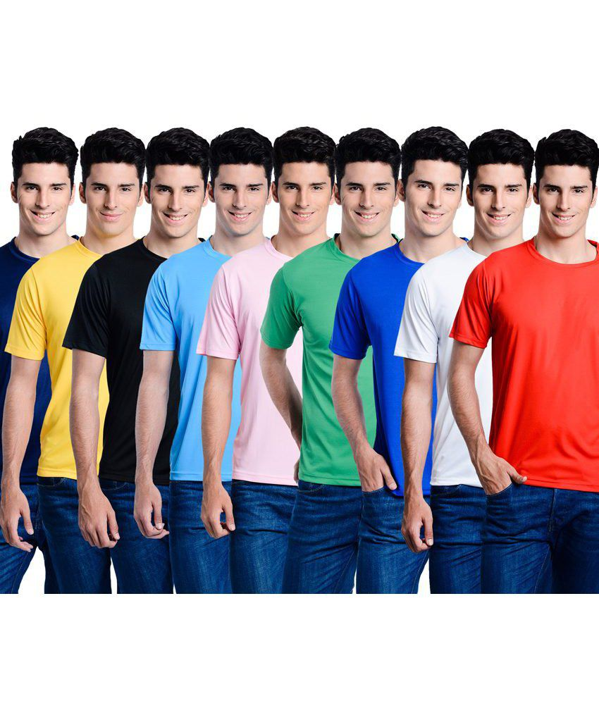 Superjoy Multicolour Polyester T-Shirt - Pack of 9