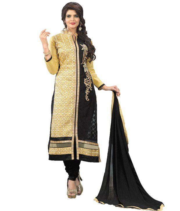 Araja Beige Cotton Unstitched Dress Material