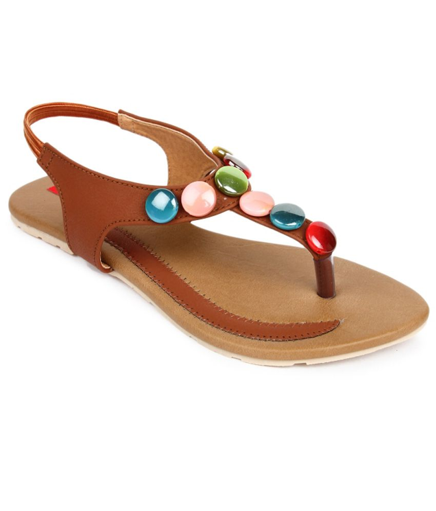 Finesse Brown Flat Sandals