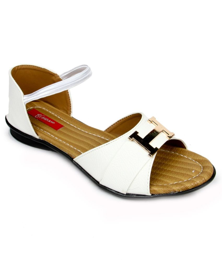 Finesse White Flat Sandals