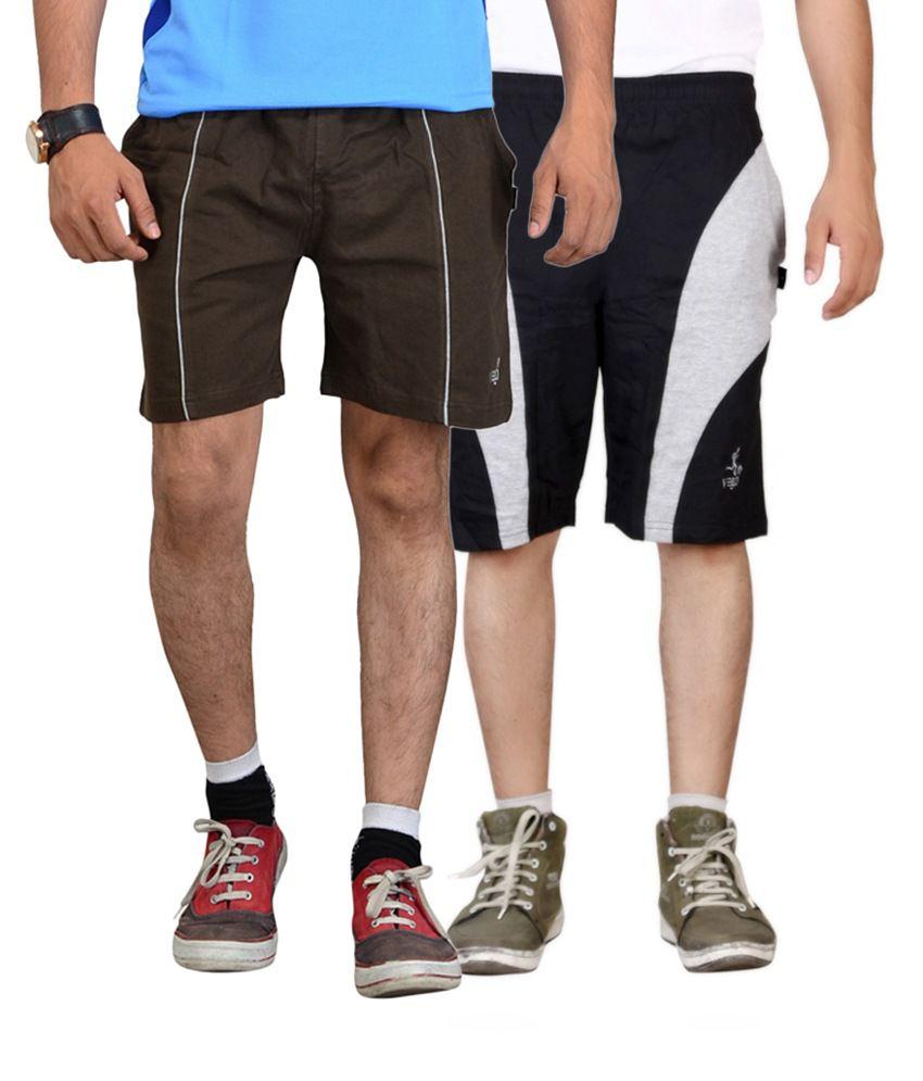 Vego Black & Brown Cotton Shorts for Men (Pack of 2)
