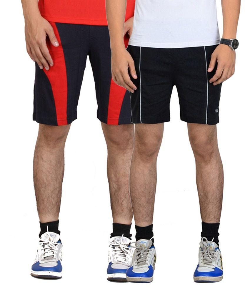 Vego Black & Navy Blue Cotton Shorts for Men (Pack of 2)