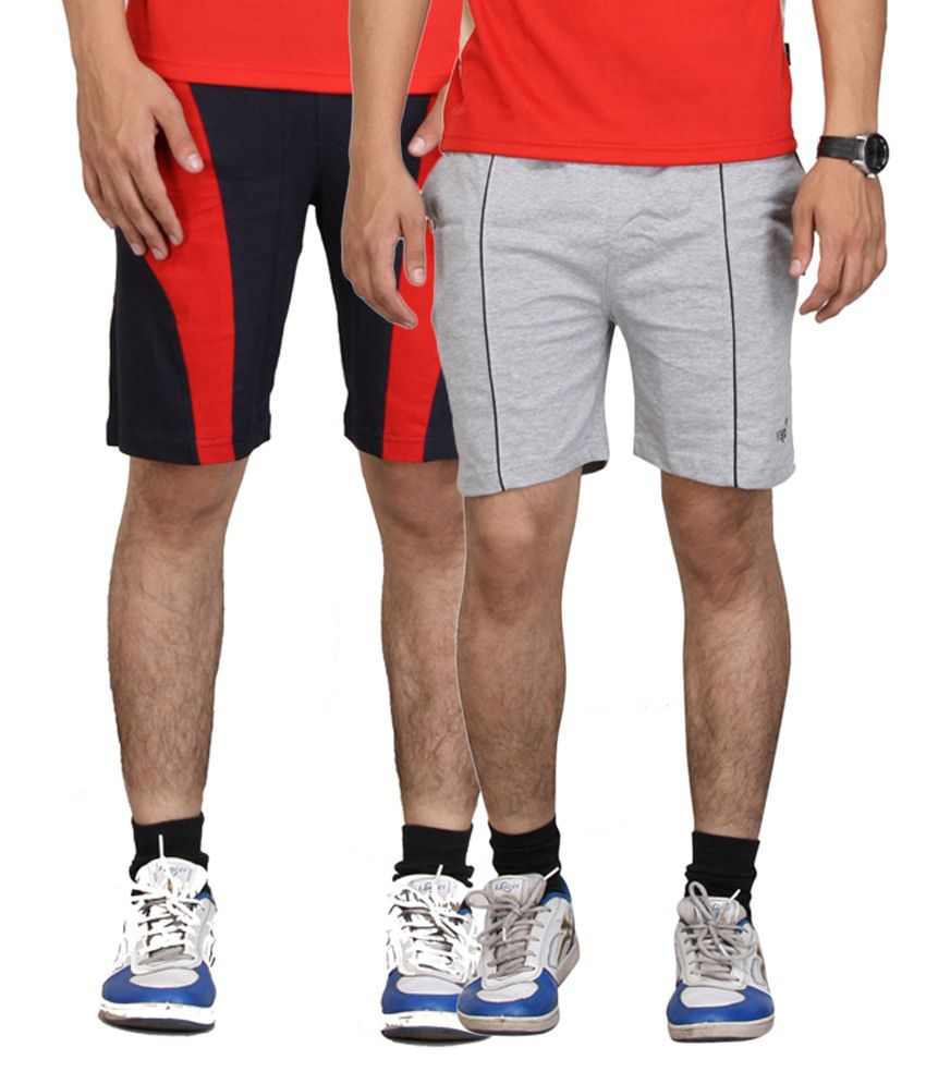 Vego Gray & Navy Blue Cotton Shorts for Men (Pack of 2)