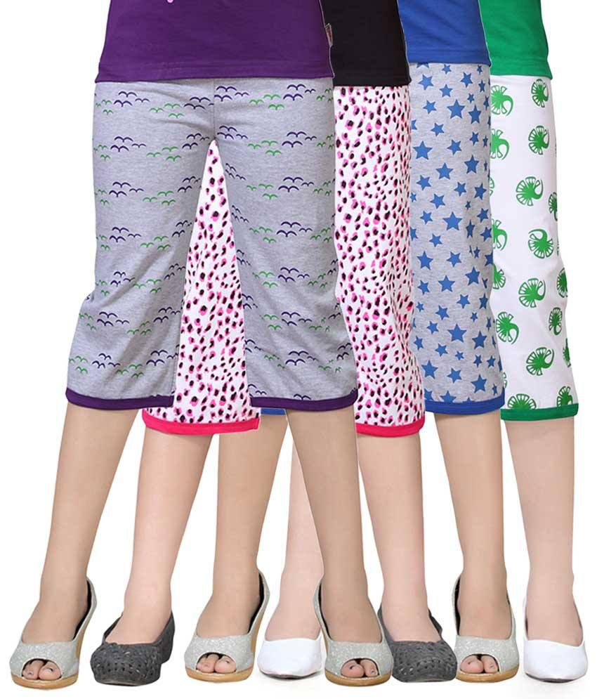 Sini Mini Multicolour Capri For Girls Pack Of 4