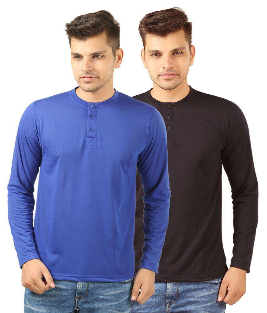 Etoffe Blue & Black Cotton Blend T-Shirt Pack Of 2