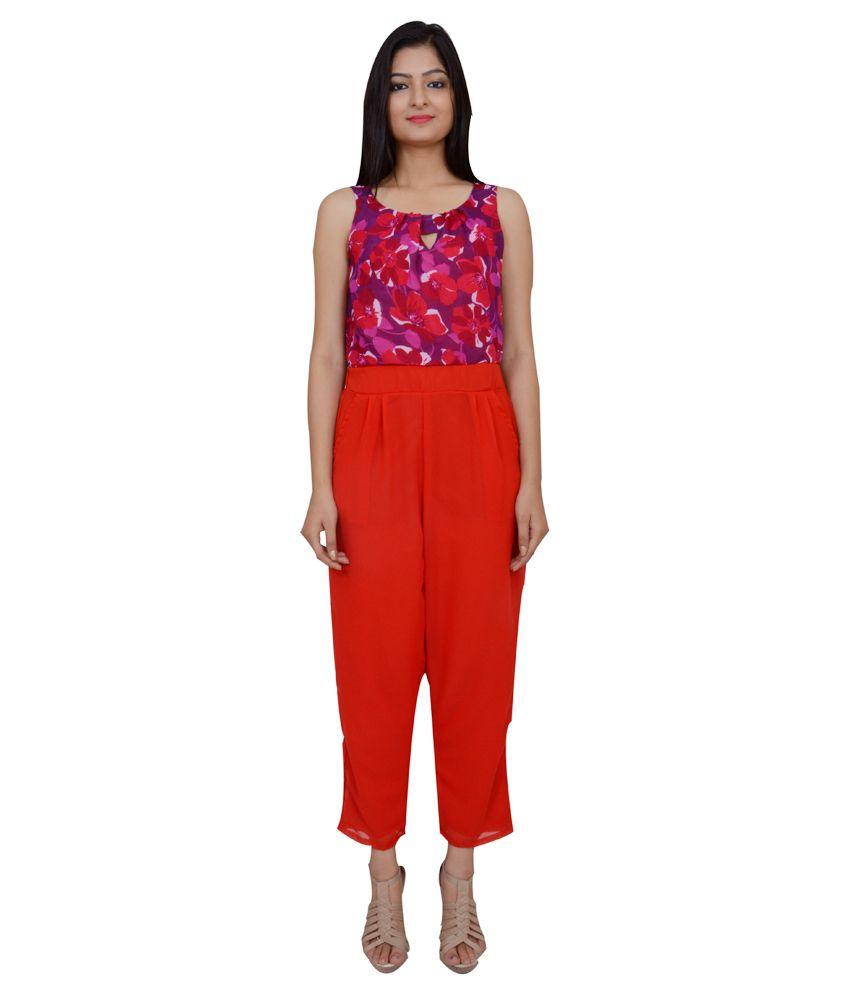 Maya Apparels Red Rayon Jumpsuits