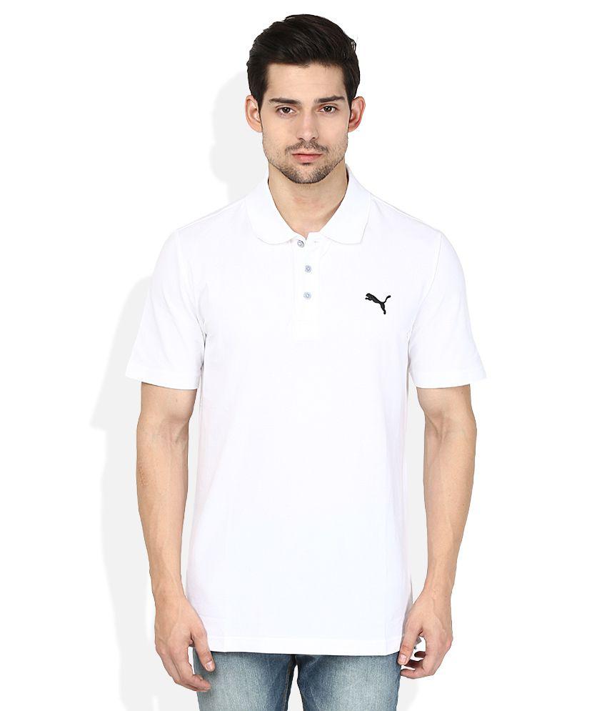 Puma White Polos Neck T Shirt
