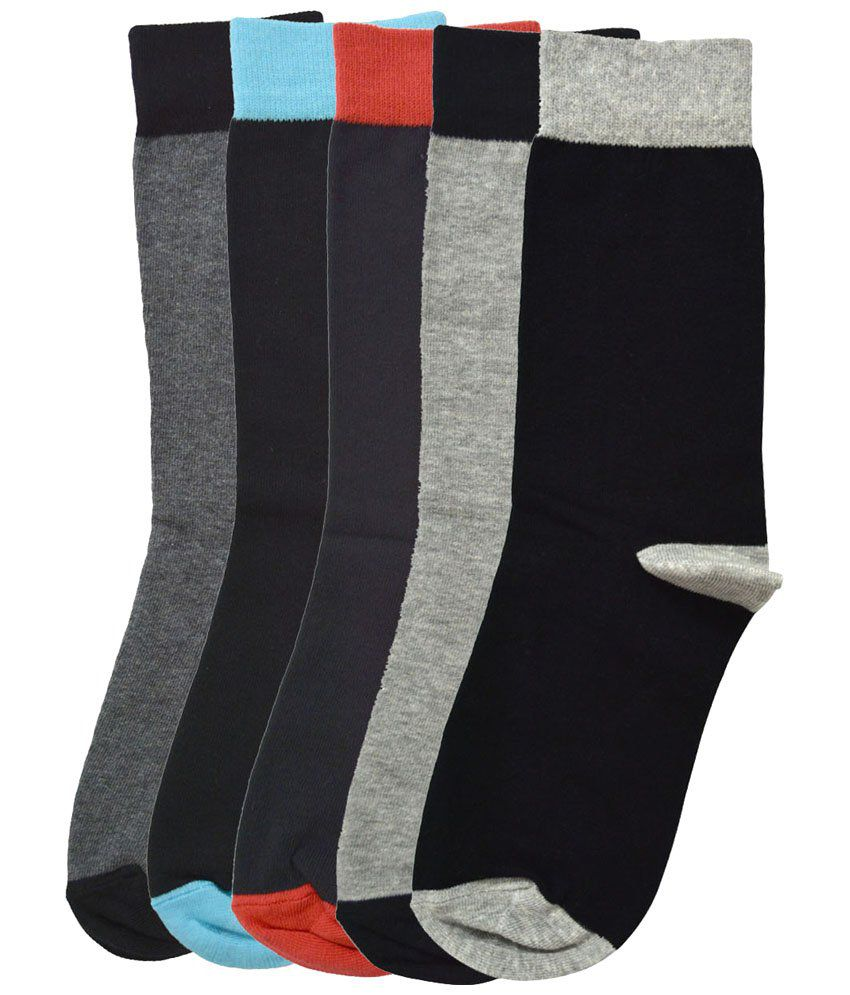 Tossido Multicolour Pack of 5 Pairs of Combed Cotton Socks for Men