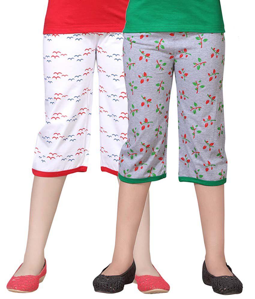 Sini Mini Multicolor Cotton Capris - Pack Of 2