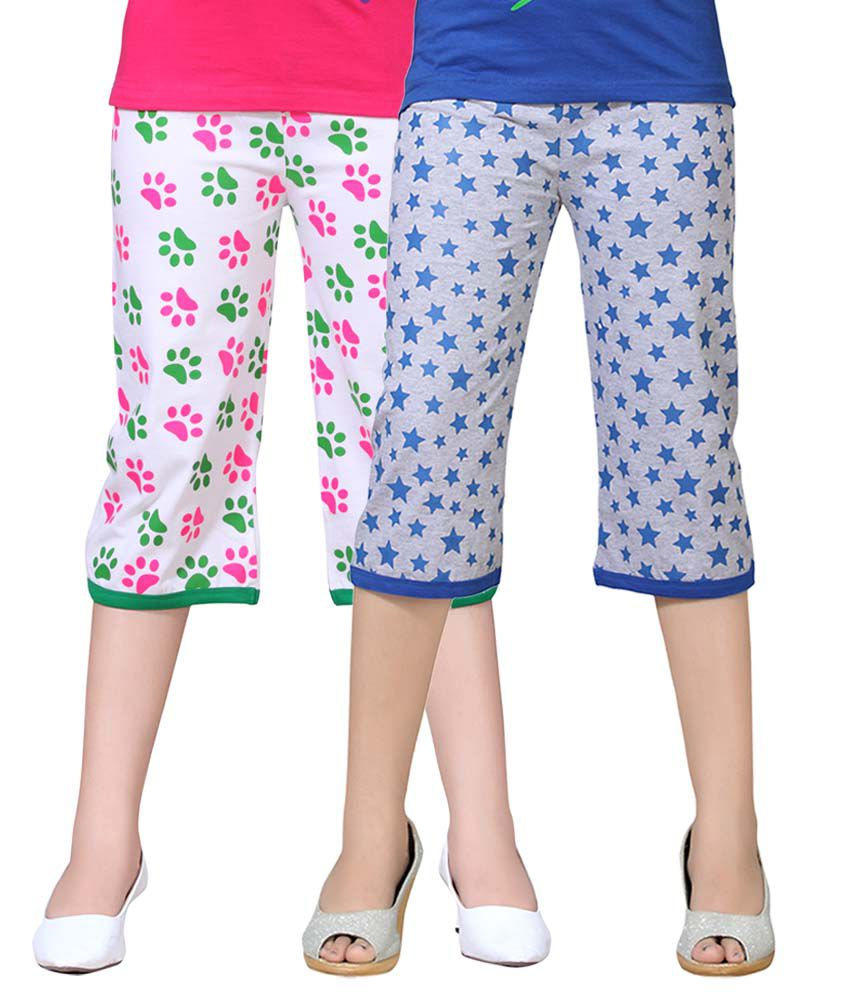 Sini Mini Multicolor Cotton Capris - Pack Of 2