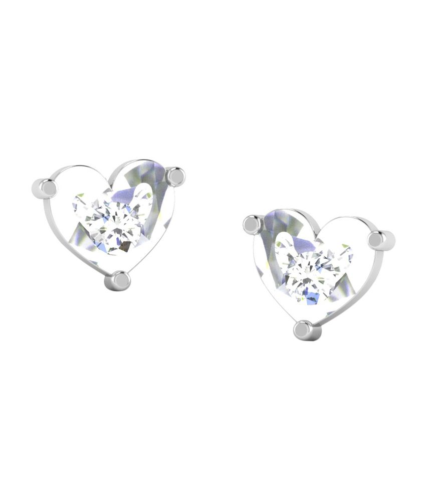 Sparkles 18kt Gold Heart Design Stud Earrings with Real Diamonds