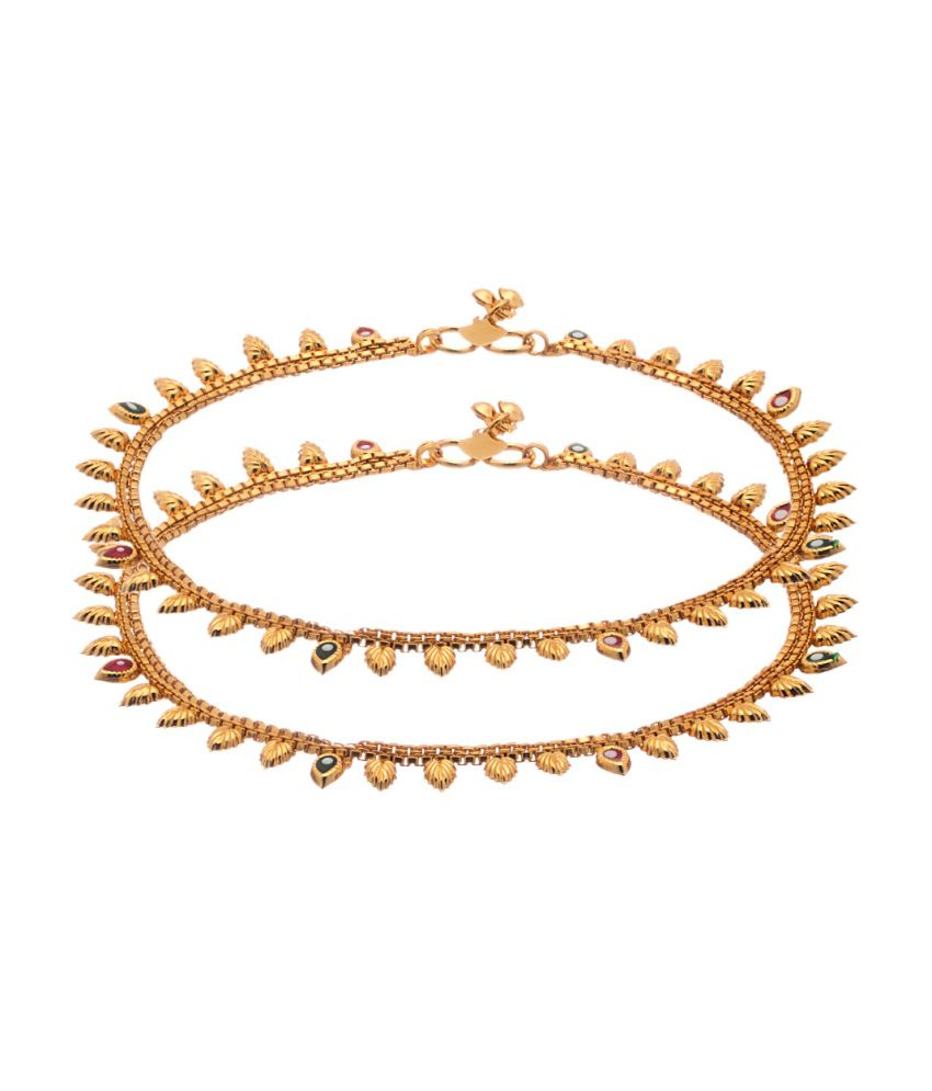 Voylla Gold Toned Anklet Pair