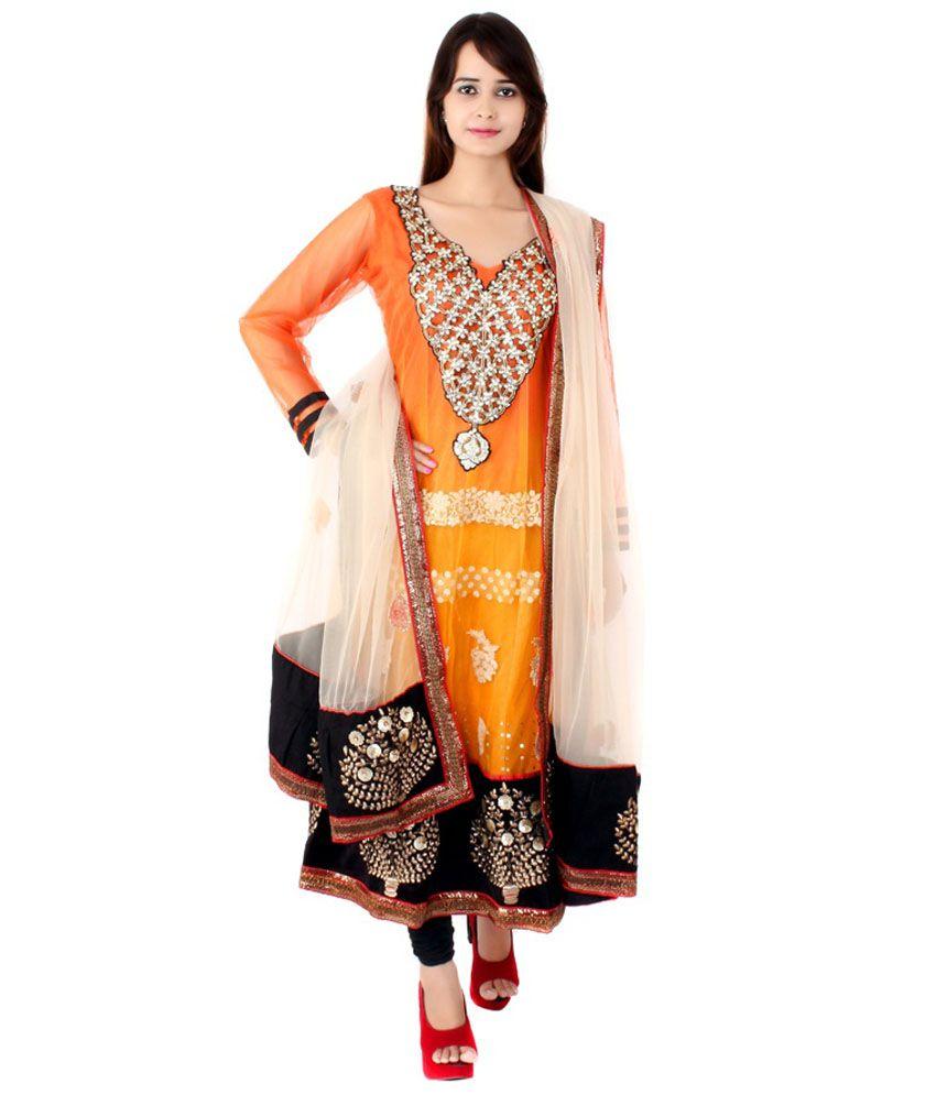 Apratim Orange Net Stitched Suit