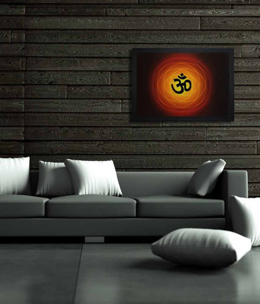 Saf Black Wooden Om Painting