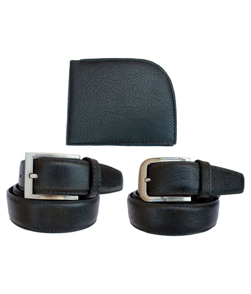 Discover Fashion Black Leather Belt With Wallet