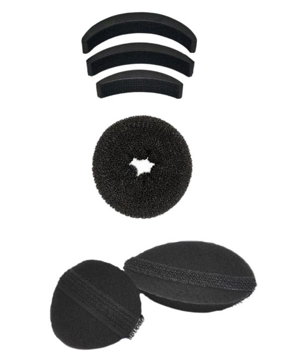 Out Of Box Hair Puff , Donut Bun With Velcro Puff Hair Volumizer Bumpit - Set Of 3