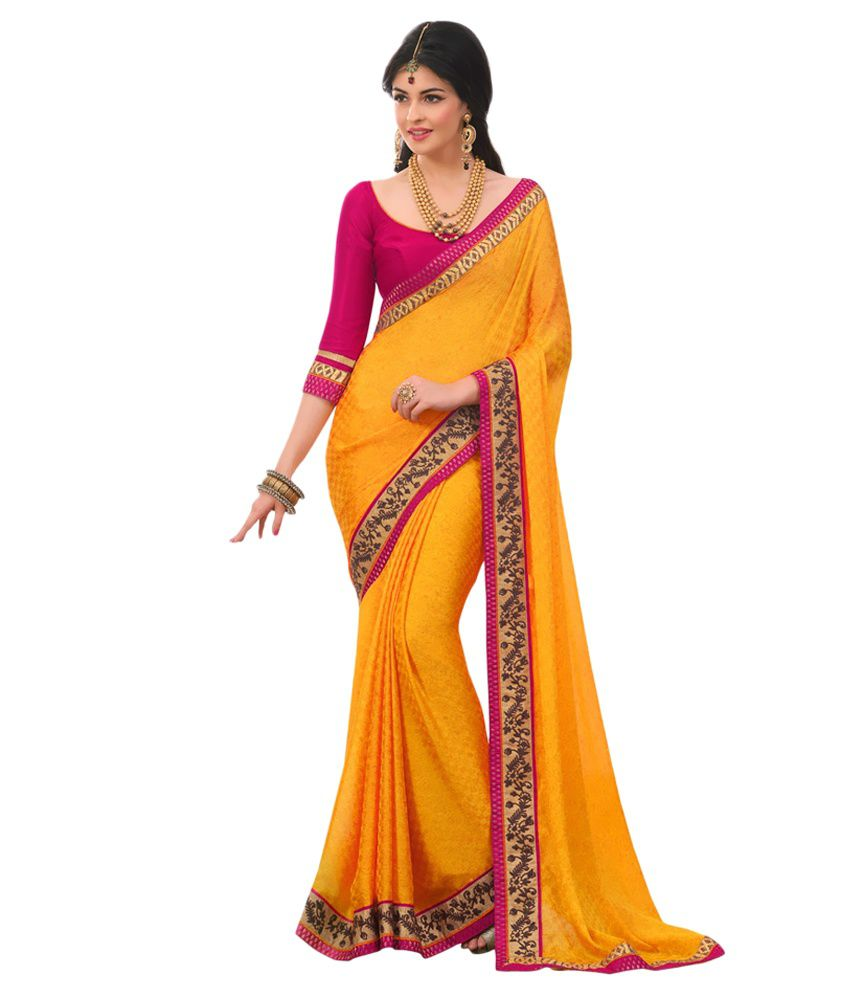 0a06466e012 Geet Fashion Solution Yellow and Orange Pure Georgette Saree - Buy Geet  Fashion Solution Yellow and Orange Pure Georgette Saree Online at Low Price  ...