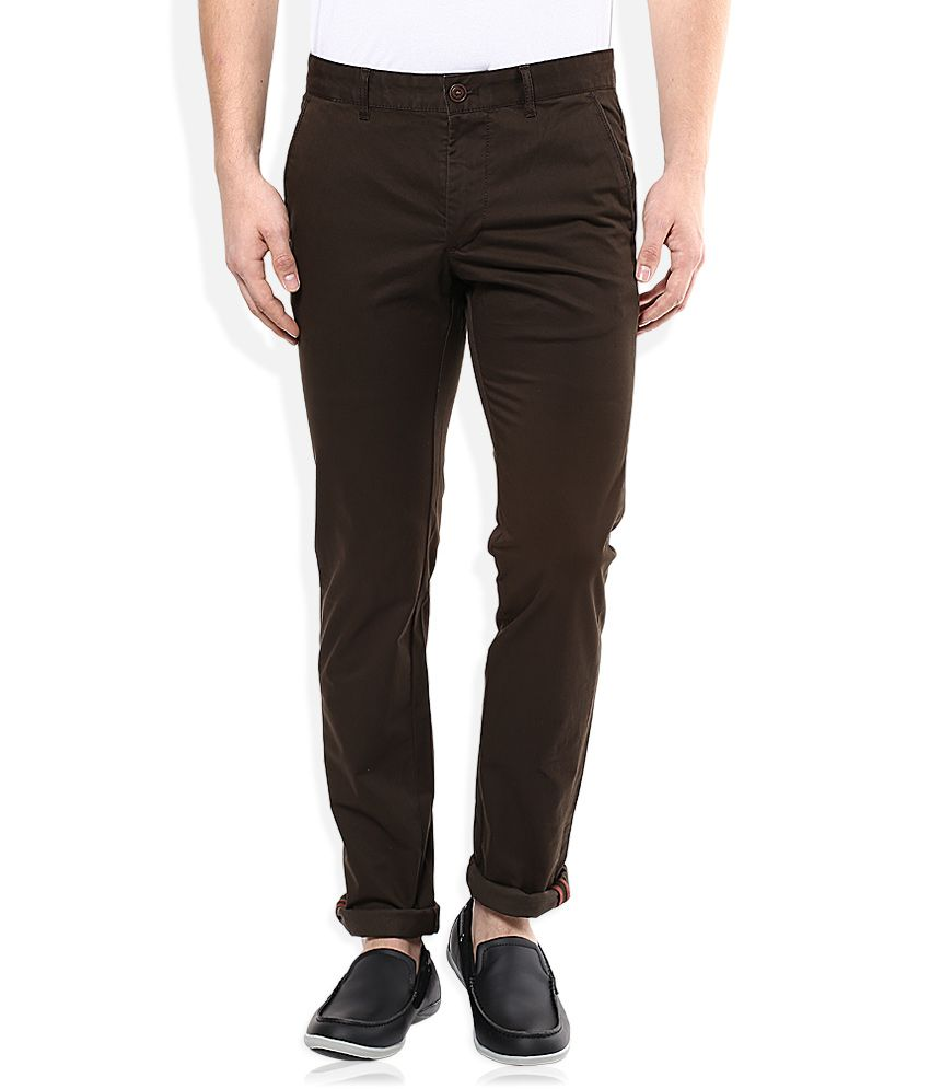 Indian Terrain Brown Slim Fit Casual Trouser