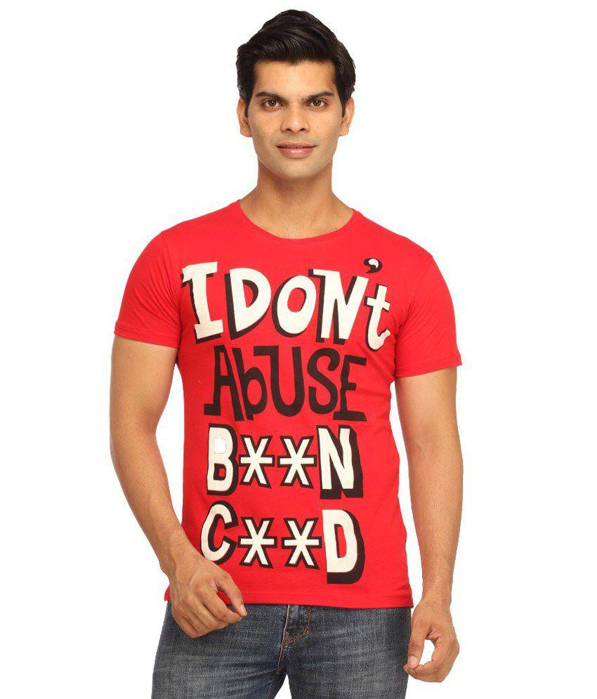 Rock Hard Red Cotton T Shirt