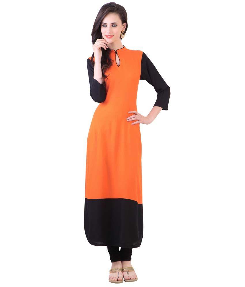 The Bebo Orange Poly Rayon Kurti