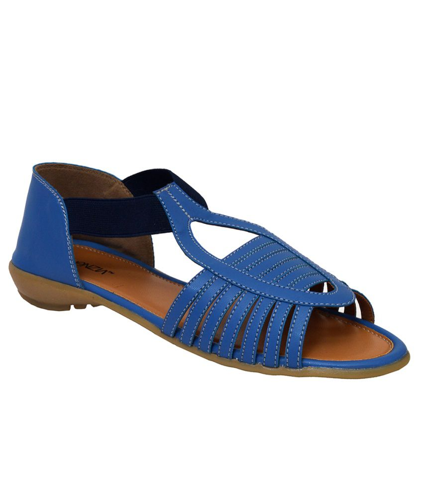 Vinenzia Blue Flat Sandals