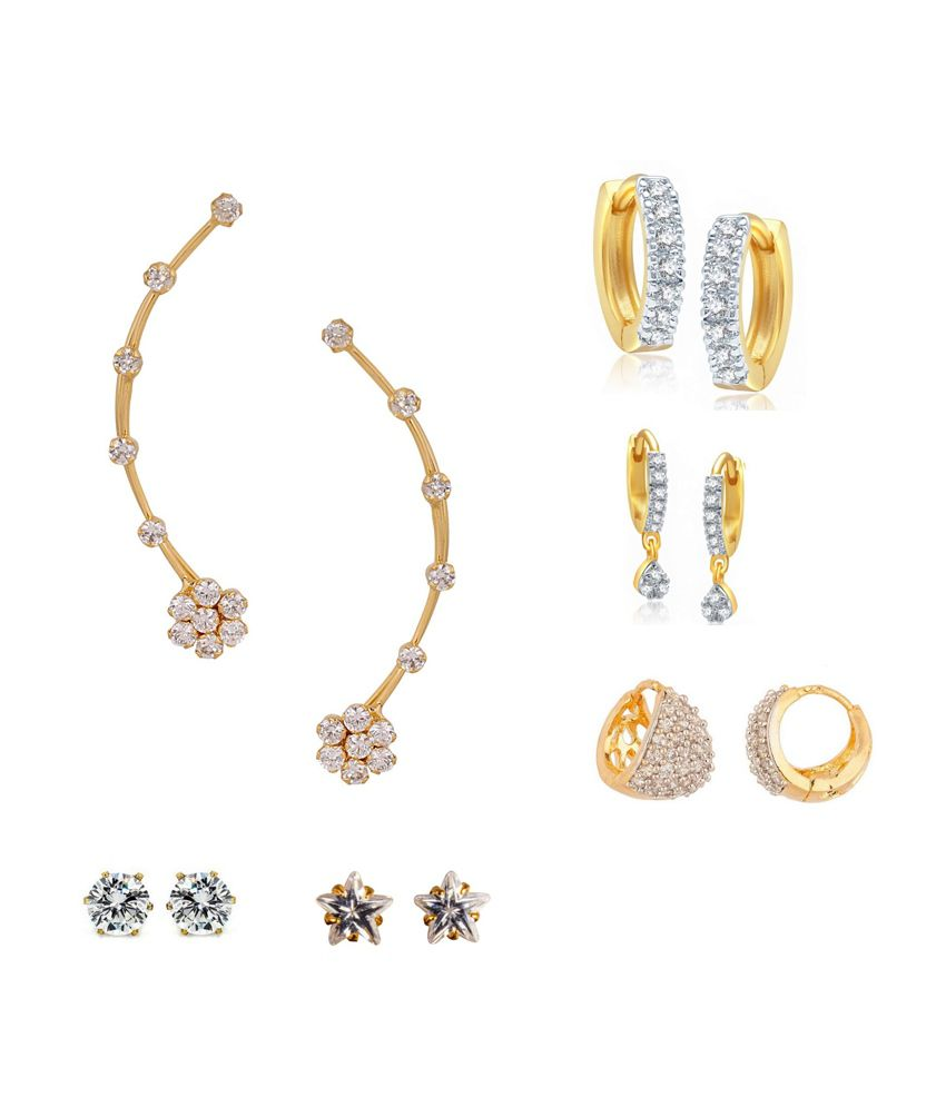 Archi Collection White American Diamond Earring Combo