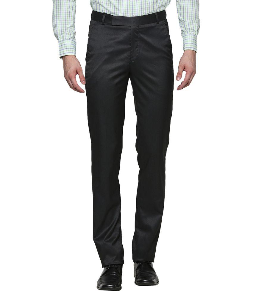Dress Code-up Black Poly Blend Formal Trouser