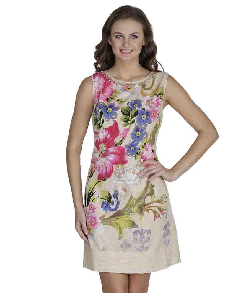 SVT ADA Collections Beige Cotton Dresses