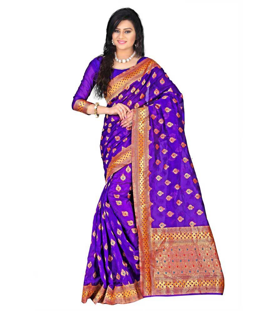 Weavedeal Exclusive Blue Banarasi Silk Saree With Blouse Piece