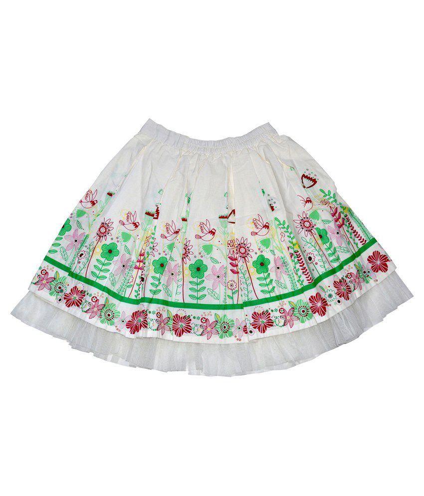 Young Birds White Cotton Skirt
