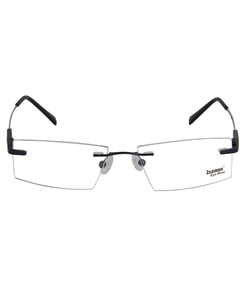 8cd45e6cbc7 Zeemon Blue Metal Rimless Eyeglasses Frame Zeemon Blue Metal Rimless  Eyeglasses Frame ...