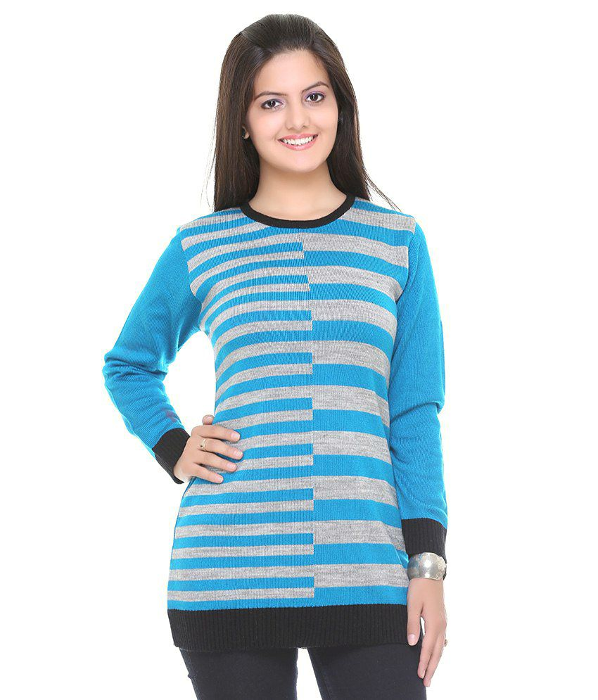 Cee - For Blue Woollen Pullovers