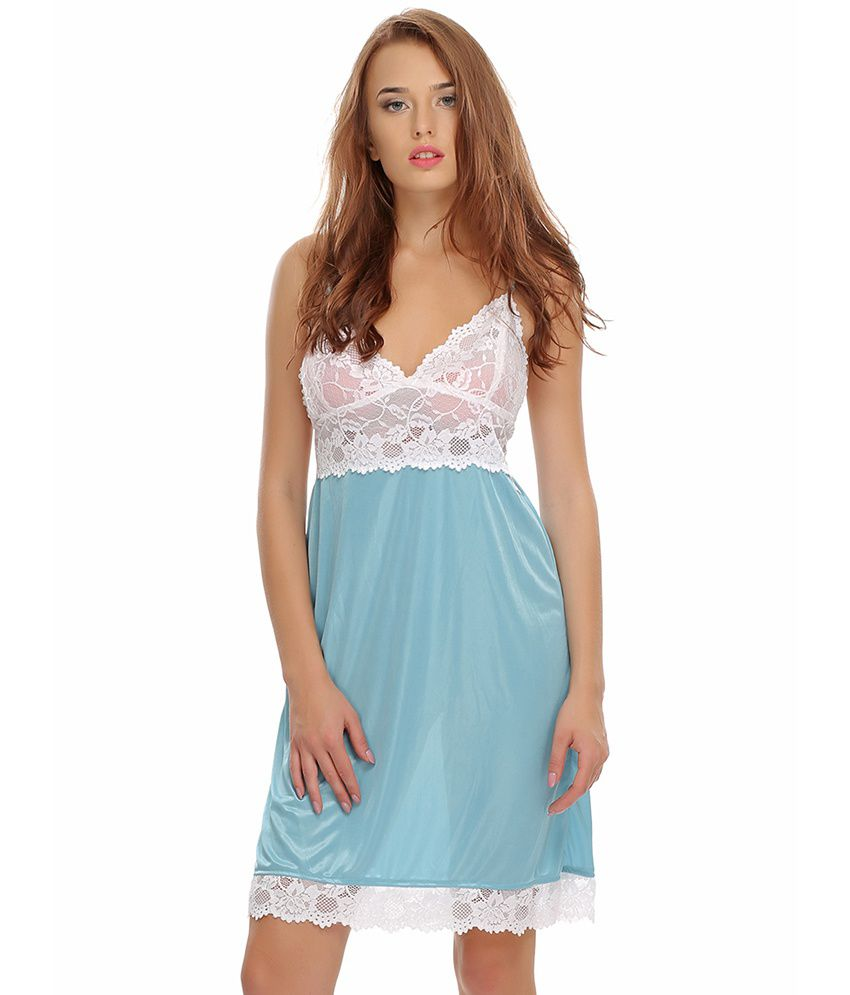 6d2ee671e2 Buy Clovia Lacy Blue Sexy Nightwear Online at Best Prices in India -  Snapdeal