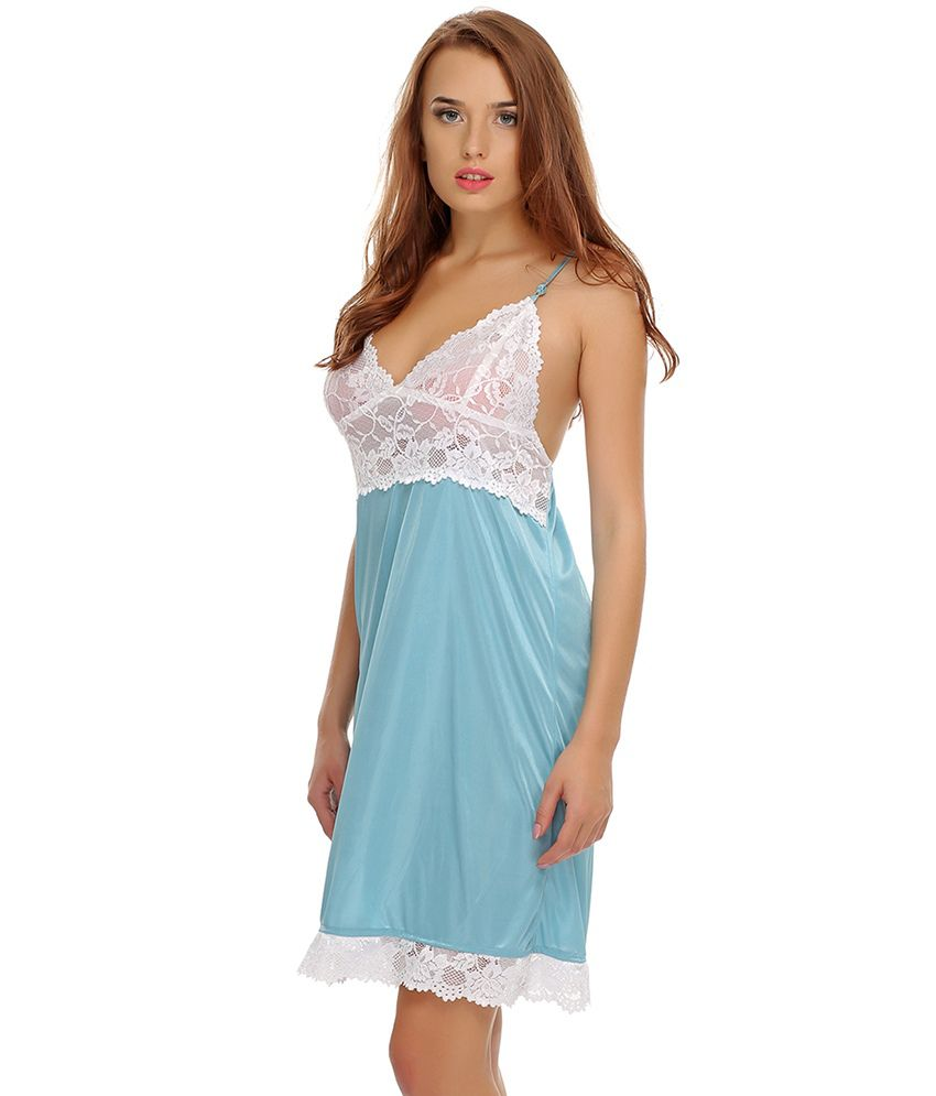 7a6116517 Buy Clovia Lacy Blue Sexy Nightwear Online at Best Prices in India ...