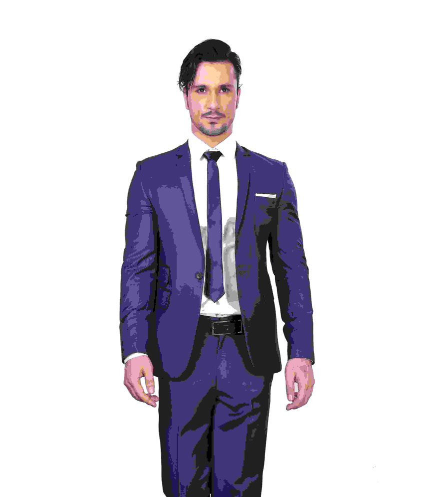 Dheerajsharma Blue Poly Blend Suits