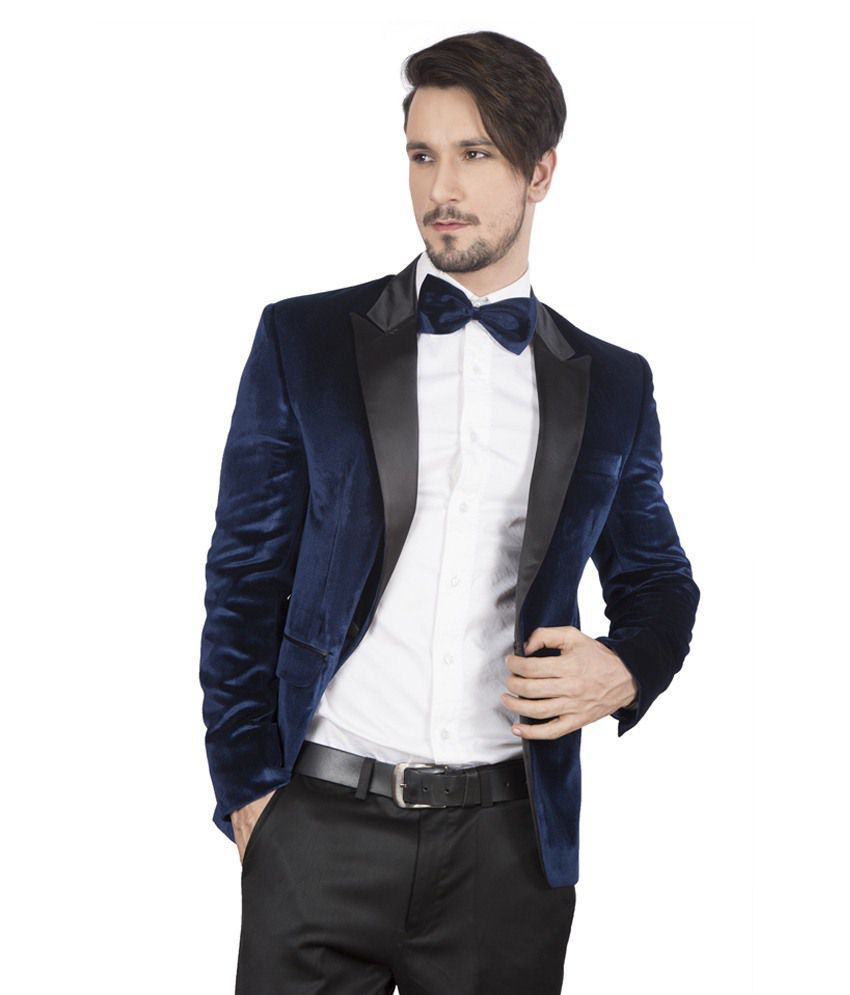 Dheerajsharma Blue Velvet Suits