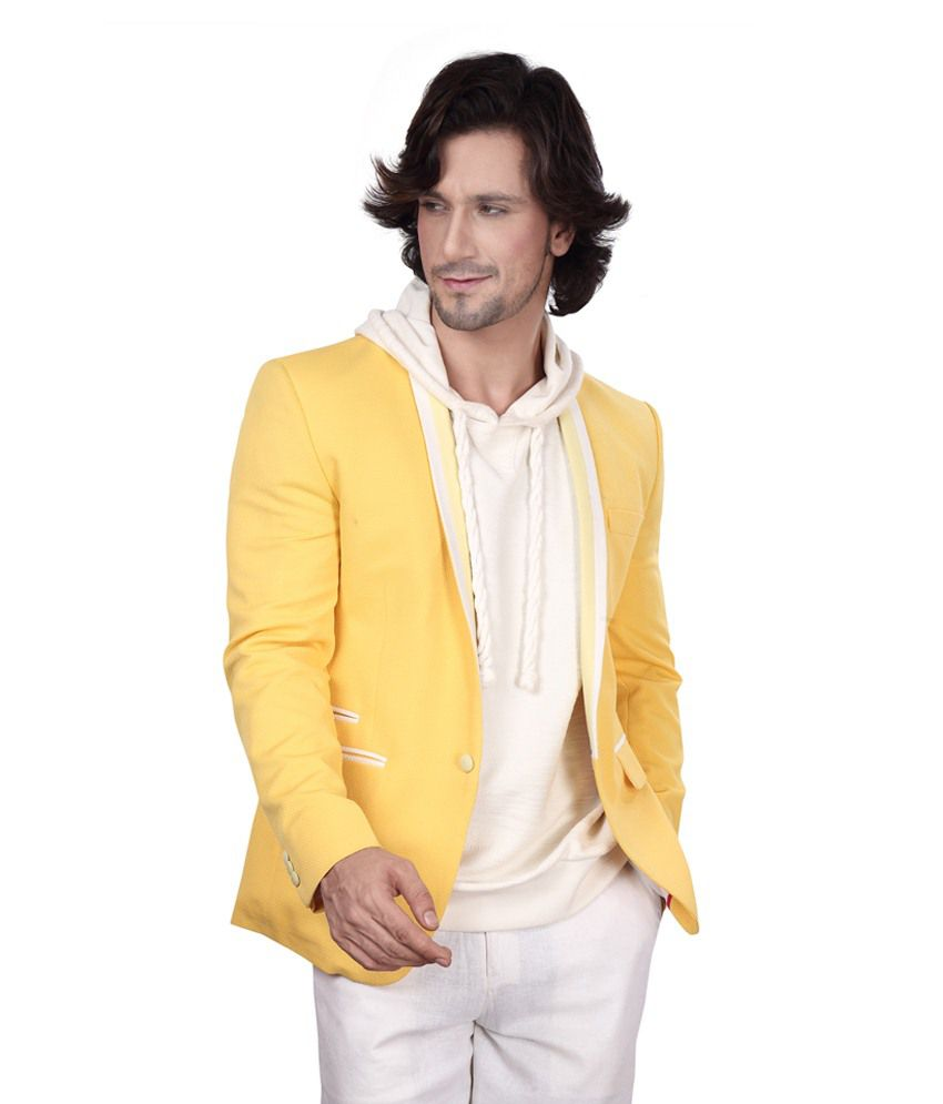 Dheerajsharma Yellow Cotton Blend Blazer