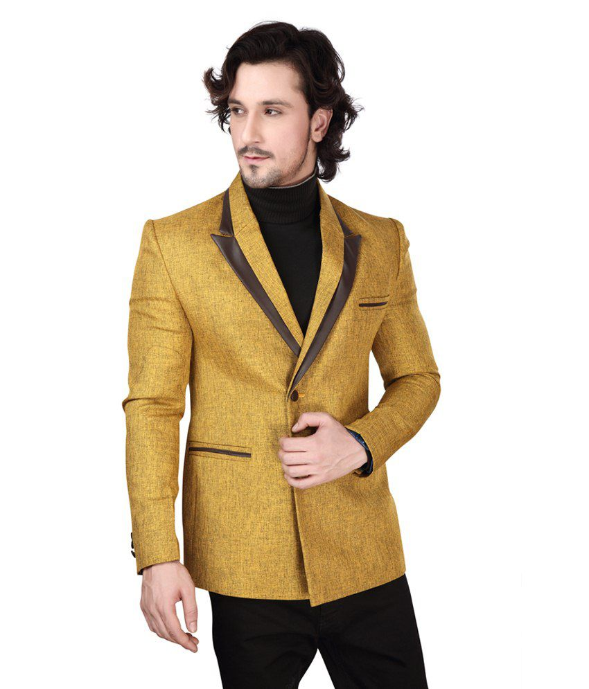 Dheerajsharma Yellow Linen Blazer