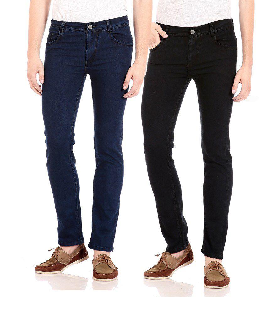 Flyjohn Multi Color Slim Fit Jeans - Set Of 2