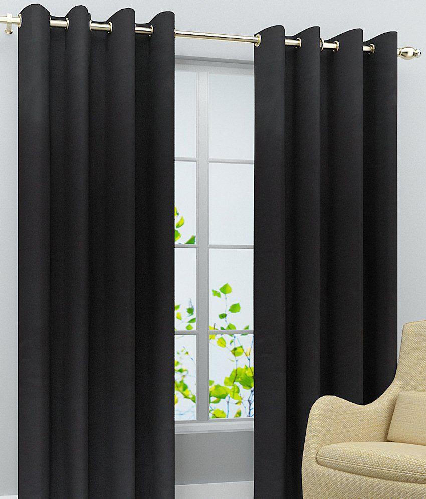 Homefab India Set of 2 Door Eyelet Curtains Solid Black