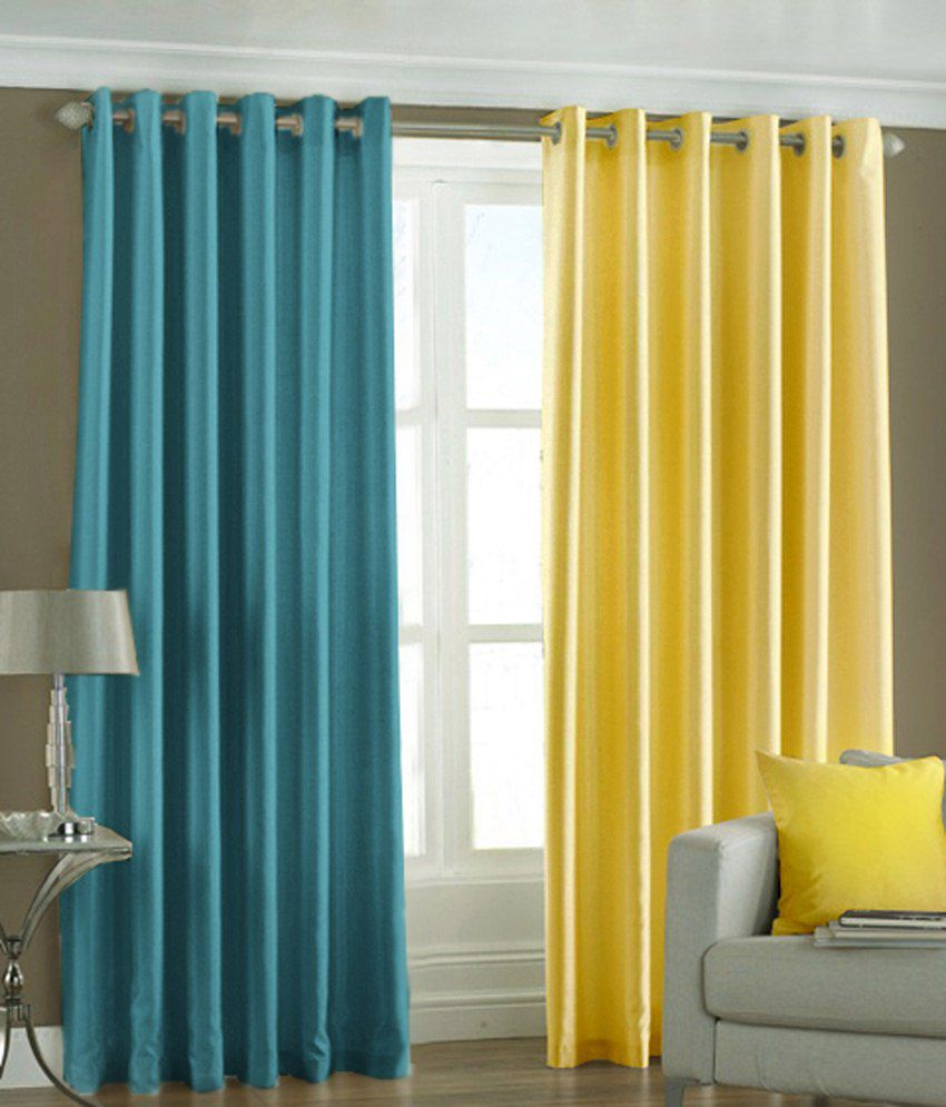 Homefab India Set of 2 Long Door Eyelet Curtains Solid Multi Color