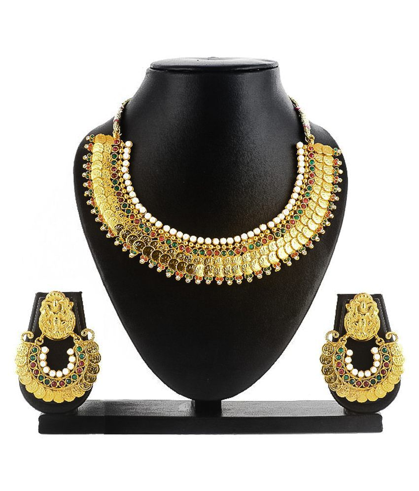 SBS Green Antique Gold Plated Cz And Kundan Mala Necklace Set