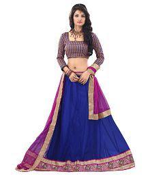 Anu Clothing Blue Net Unstitched Lehenga